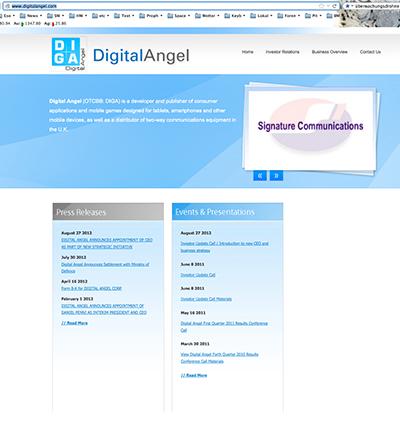 Webseite Digital Angel 2012