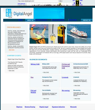 Webseite Digital Angel 2008